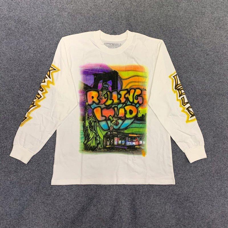 Travis Scott ASTROWORLD t-shirt hommes femmes graffiti Cactus Jack roulant fort manches longues xxxtentacion ASTROWORLD 3D T-shirts