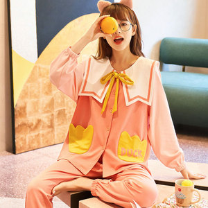 Image 3 - Женский пижамный комплект, длинная Хлопковая пижама с топом на осень и зиму, 2019