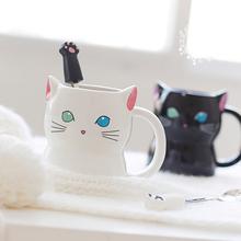 Cute Animal 3D Cat Coffee Cup Hand Painted Cartoon Ceramics Blue Eye Green Black And White Breakfast Milk Mug