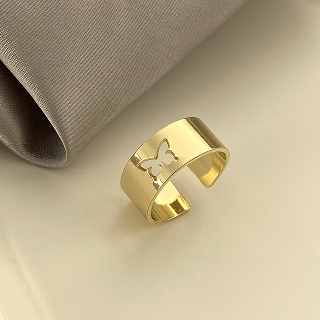 Punk Simple Style Lovers Butterfly Opening Ring Creative Women Gold Silver Color 2-Piece Ring Jewelry Gifts For Good Friends 4