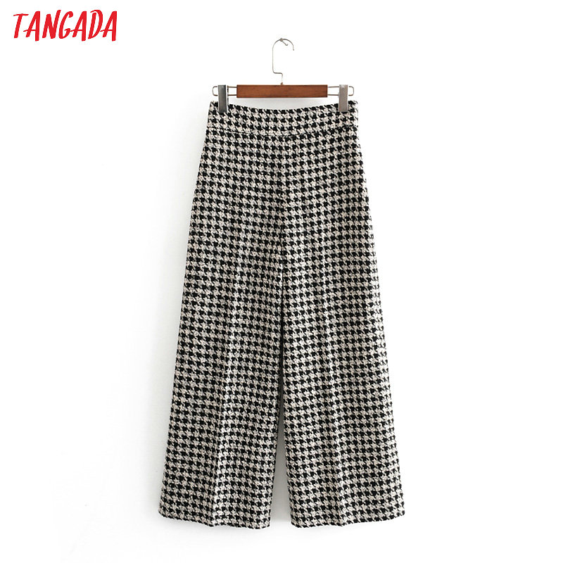 Tangada Woman Vintage Style Plaid Tweed Wide Leg Pants Zipper 2019 Winter Elegant Office Ladies Pants Trousers Mujer 3H199