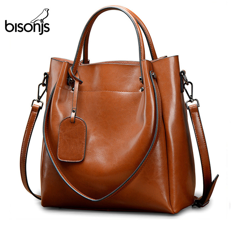 BISONJS Leather Luxury Handbags Women Bags Designer Female Fashion Shoulder Bag Big Tote Crossbody B1486