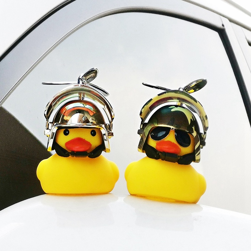 Hot Selling Car Mounted Decoration Breaking Wind Duck Yellow Three-level Head Bamboo Dragonfly Yellow Duck Bicycle Press Flash
