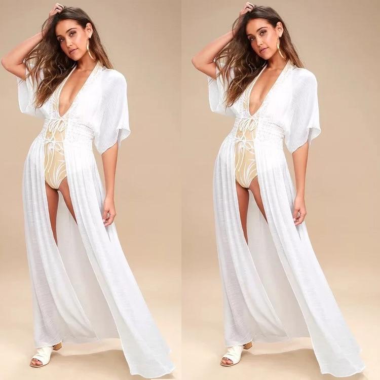 Wsih2019 Europe And America Cardigan Beach One-piece Dress