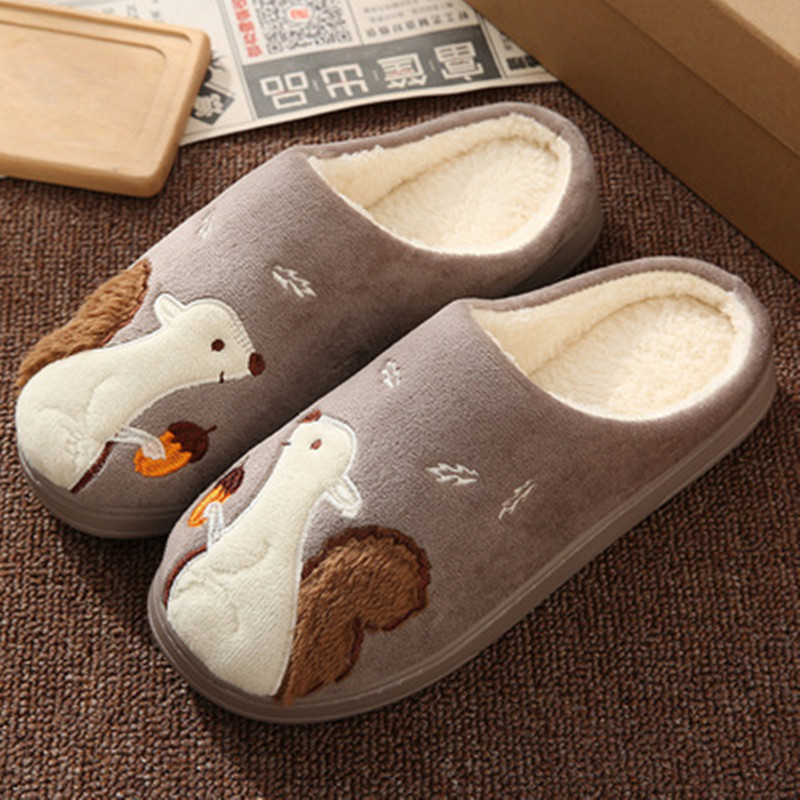 Women Slippers Cartoon Hedgehog squirrel Unicorn Slippers Winter Non-slip Fur House Indoor Outdoor Plush Ladies Shoes Men Couple 5