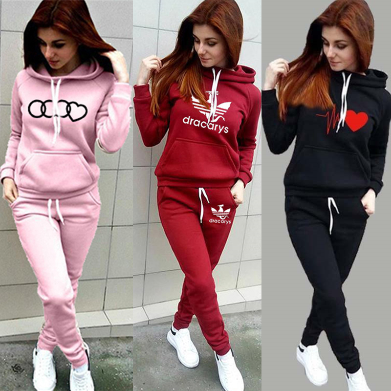 2020 Women's Autumn And Winter Solid Color Sweater Printed Two-Piece Sweater Cashmere Sweater And Casual Pants Set
