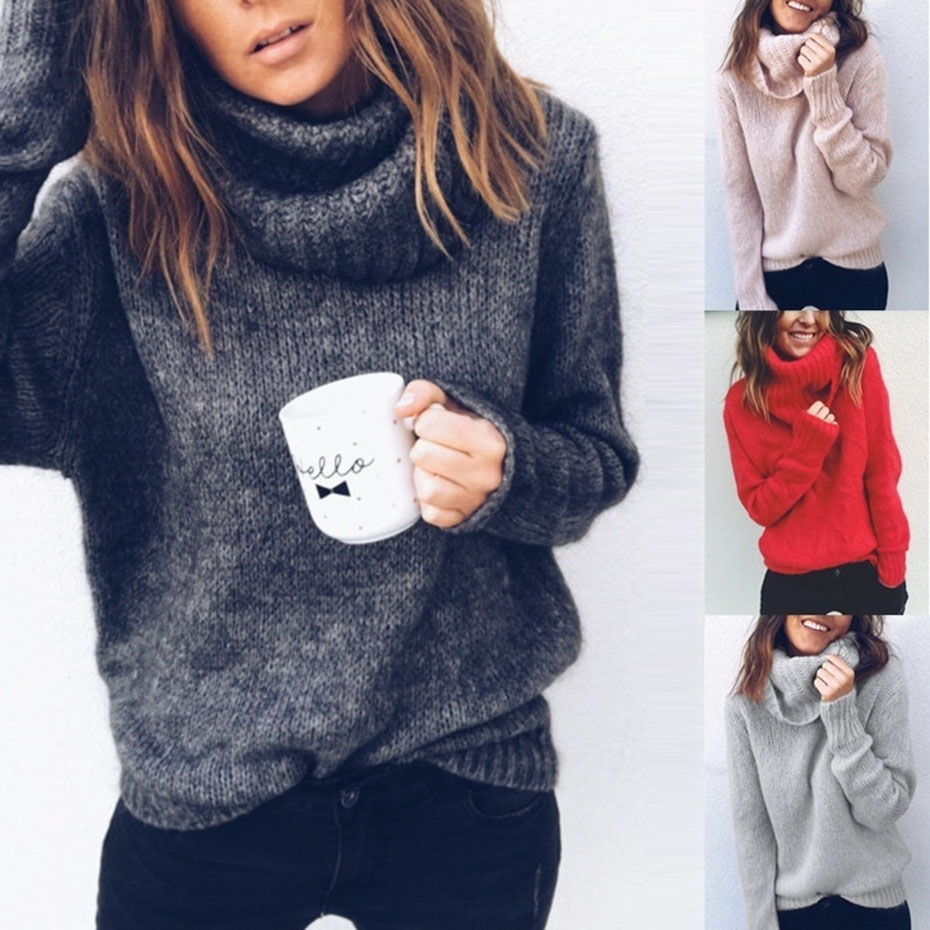 Womens Sweaters 2018 Winter Tops Turtleneck Sweater Women Thin Pullover Jumper Knitted Sweater Pull Femme Hiver Truien Dames New