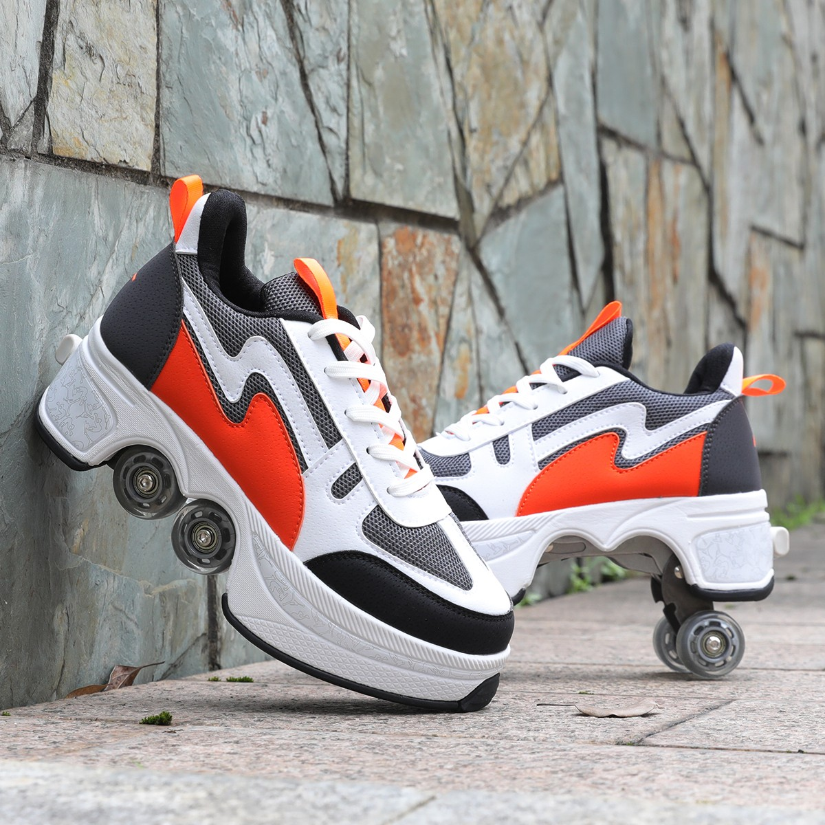 Кроссовки-ролики унисекс, повседневная обувь для мужчин и женщин, Трансформеры, четыре колеса, для пар