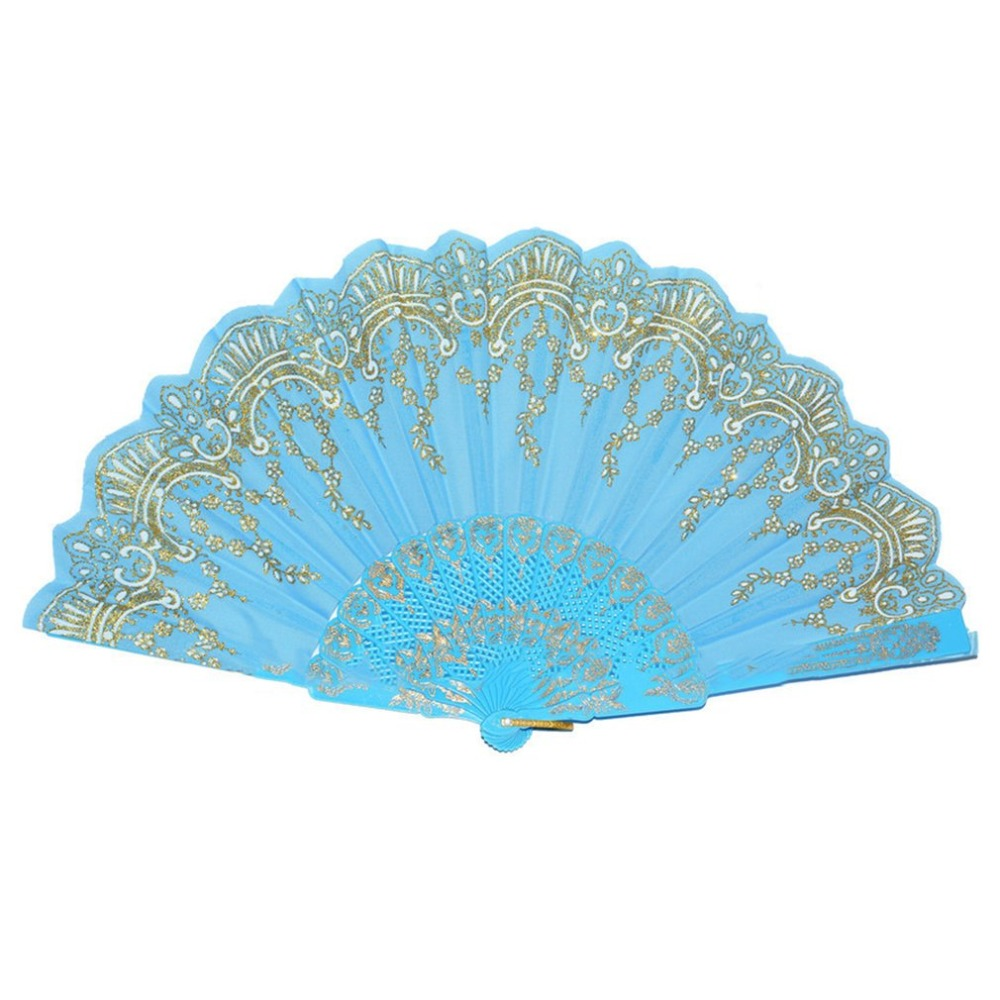 Spain Style Compact Summer Plastic Folding Hand Held Fan Chinese Dance Party Pocket Gifts Wedding Floral Printed Fan