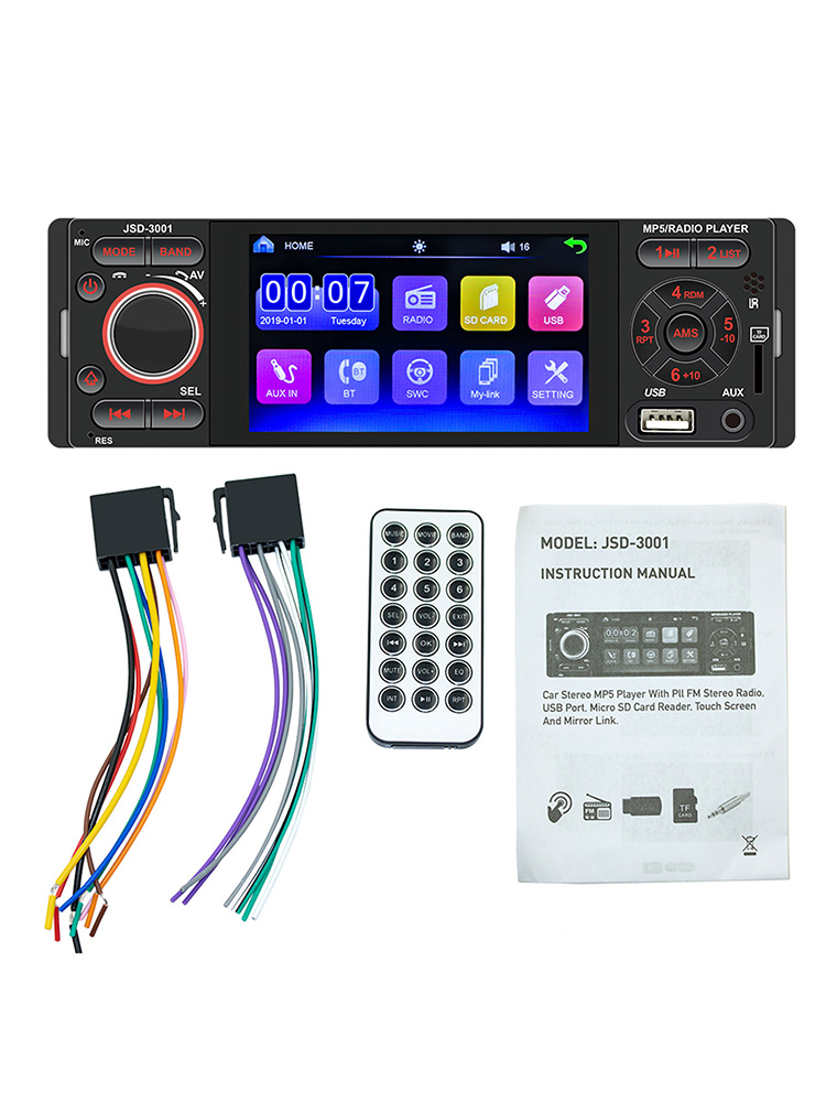 4.1-inch Screen Bluetooth Auto Stereo Radio Touch Screen Radio 1 DIN MP5 Player Supports IOS Android System Car MP5 Player