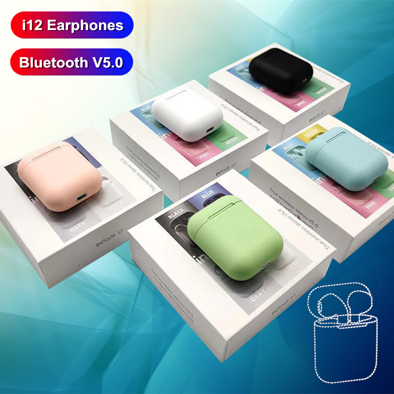 i12 tws Wireless Headphones Bluetooth Earphones 3D Stereo Sound Headset sports colorful earbuds For Iphone Xiaomi Samsung Huawei