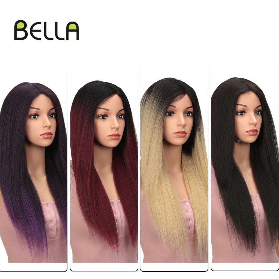 Bella Synthetische Lace Front Pruiken Voor Zwarte Vrouwen Yaki Rechte Lange 27 Inch Afro Kant Pruik Baby Haar Ombre Rood 4 Kleuren Beschikbaar