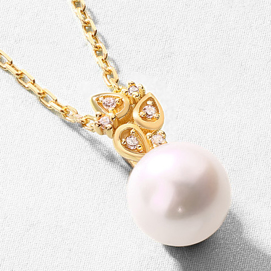 ALLNOEL Real 925 Sterling Silver 100% Real Pearl The Combination zircon Design Necklace Wedding Jewelry Gift For Women  2019 NEW (9)