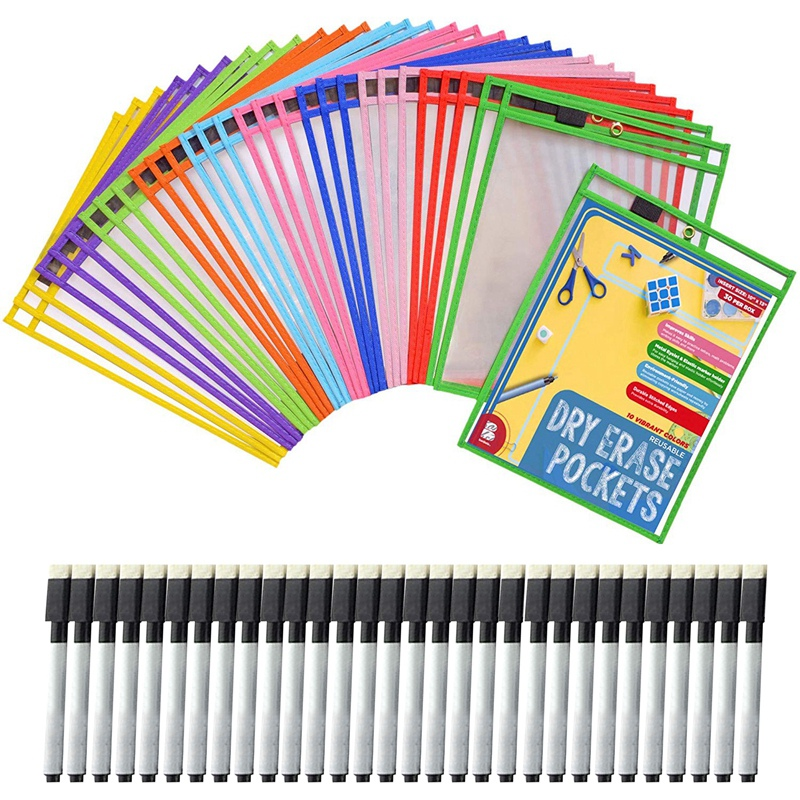 30Dry Erase Pockets Pockets Perfect Classroom Organization Reusable Dry Erase Pockets Teaching Supplies