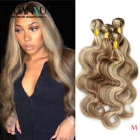 Blonde Hair Bundles with Highlights Brazilian Remy Ombre 613 Pink Red Blue Orange Piano Color Hair Weave 3 Bundles Human Hair