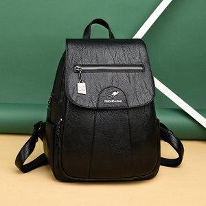 Image 4 - 2020 женские кожаные рюкзаки, высокое качество, Женский винтажный рюкзак для девочек, школьная сумка, дорожная сумка, женский рюкзак