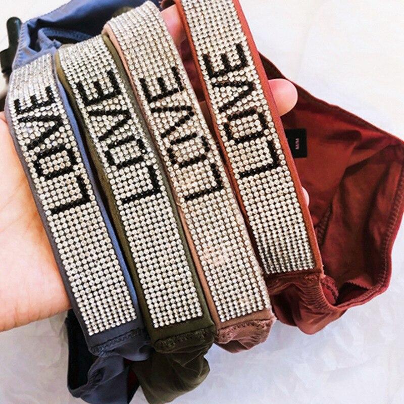 Triangle Panties Shorts Thongs G-String Rhinestones Diamonds Low-Waist Love-Letter Sexy Women