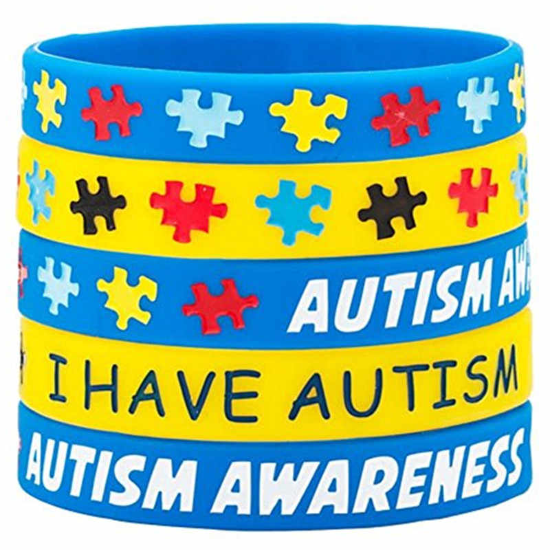 1pcs I have Autism Awareness Bracelets Silicone Wristbands Autism awareness live acceptance support for angel