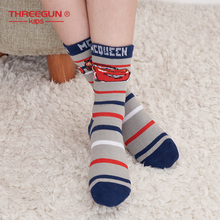 THREEGUN X Disney 1-3PCS Boys Socks Cute Cartoon Stripes Pattern Breathable Soft Children Girl Kids 3 Pairs/Lot