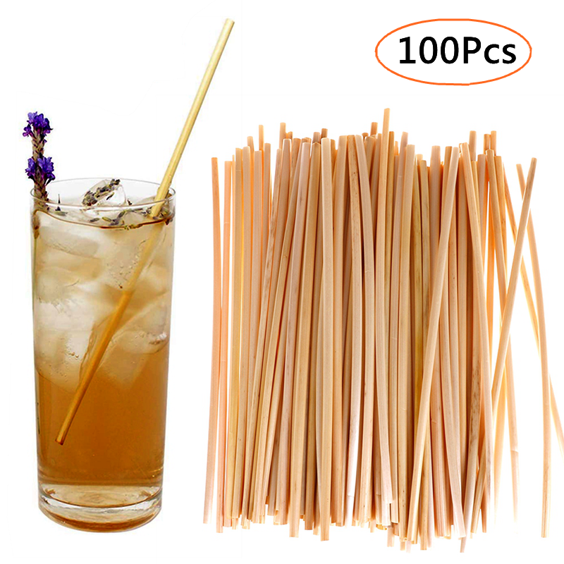 100pcs 20cm Disposable Wheat Straws Eco-Friendly Natural Wheat Drinking Straw Environmentally Straws for Drinkware Bar Accessory