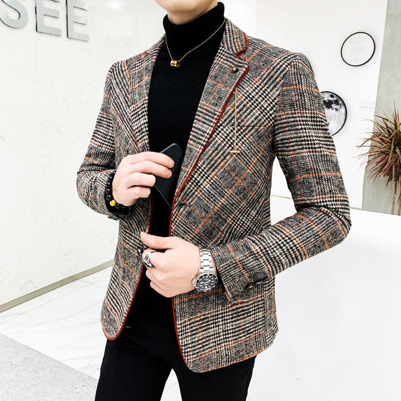 British Style Plaid Blazer For Men Suit Jacket Casual Woolen Wedding Dress Coat Single Business Male Button Veste Costume Homme