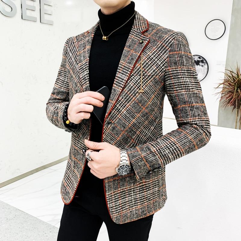 British Style Plaid Blazer For Men Suit Jacket Casual Woolen Wedding Dress Coat Single Business Male Button Veste Costume Homme