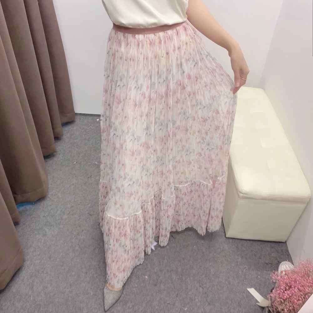 2020 verão novas mulheres floral impresso malha maxi saia elegante do vintage feminino saias longas ropa mujer falda