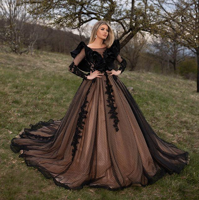 Long Dress Evening Women Elegant Sheer Long Sleeve Ball Gown Dubai Ladies Formal Evening Party Gowns