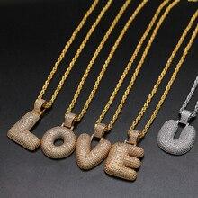 Hip Hop A-Z Bubble CZ Alphabet Pendant Name Necklace For Men Women  26 Letters Gold Color Chain Necklace Fashion  Jewelry Gift 2020 fashion hip hop chain necklace for women jewelry gifts letters and lock pendant necklace accessories