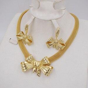 Image 2 - Высокое качество Ltaly 750 золотой цвет комплект ювелирных изделий для женщин африканские бусы ювелирные изделия ожерелье набор серьги ювелирные изделия