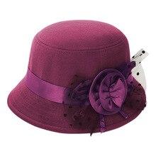 Модная винтажная женская шляпа-федора, имитация шерстяного цветка, Осень-зима, сохраняющая тепло Кепка с покрывалом, элегантные женские шляпы с бантом, AIC88