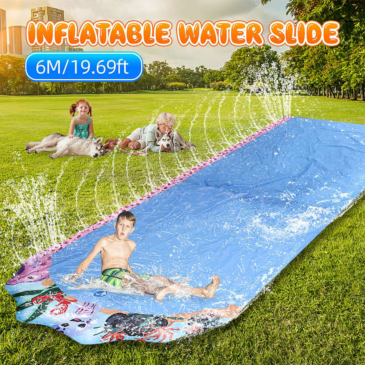 6M Giant Surfing Water Slide Fun Lawn Water Slides Pools For Kids Summer PVC Games Center Backyard Outdoor Adult Children Toys