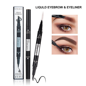 1 PC 2 in1 Double-end Liquid Eye Liner With Eyebrow Pencil Waterproof Natural Long-lasting Automatic Cosmetic Makeup Tool TSLM2