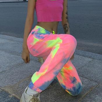 Kolorowe spodnie z wysokim stanem damskie spodnie Streetwear moda luźne spodnie do joggingu damskie 2019 spodnie dresowe damskie KZ01 tanie i dobre opinie LAJWMPLXLS Pełnej długości Poliester Elastyczny pas Mieszkanie Wysoka WOMEN Tie Dye Suknem Harem spodnie Malowane sweatpants for women