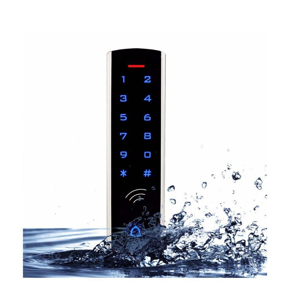 Kit de sistema de Control de acceso de teclado táctil RFID cerradura de puerta 125KHz EM tarjeta resistente al agua caja metálica luminosa para la entrada de la puerta F1289D