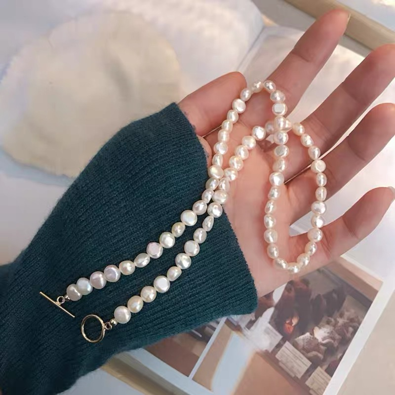 BaroqueOnly Natural freshwater pearl Clavicle necklace 14K Gold filled round buckle exquisite 6-7mm pearls jewelry necklace NCE