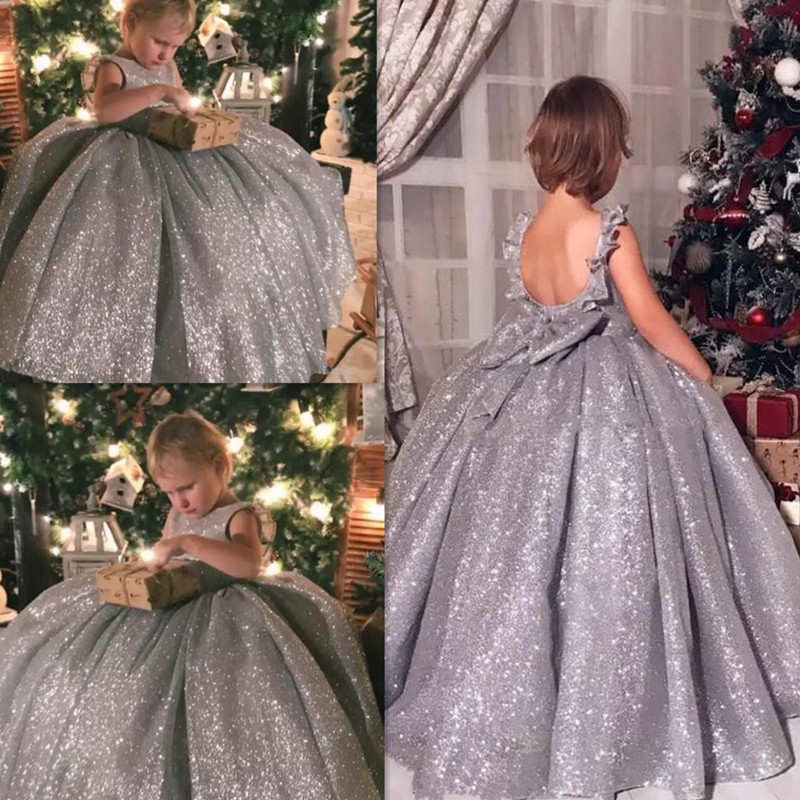 Luxury Princess Flower Girls Dresses Sliver Sequined Backless Girls Pageant Dress Ball Gown