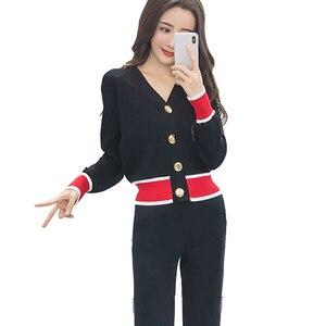 Image 3 - Cardigan tricoté à col en v massif pour femmes, ensembles de mode pour femmes, pull à boutons et pantalon 2019, S88107Y, automne nouveauté