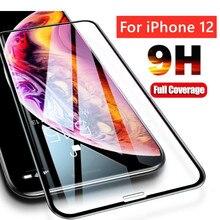 IPhone için 9H temperli cam 11 12 Pro Xs Max X s r 6 6S 7 8 artı + Xr ekran koruyucu için iPhone 11 cam 12 Mini tam kapak