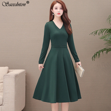 Elegant V-neck Solid Color Dress Women 2020 Middle Aged Mother Casual Autumn A-line Long Sleeve Office Lady Work Wear Dresses цена и фото