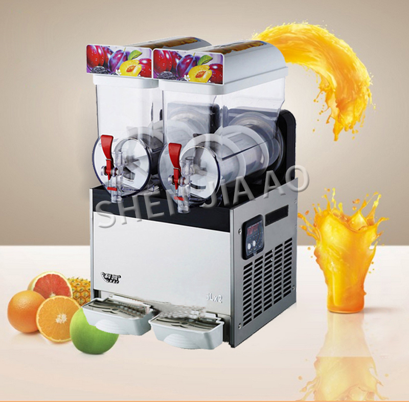 220-240V double cylinder snow melting machine 2 Tanks of Commercial ice Slush Machine 15L*2 Beverage Juice container  XRJ-15LX2