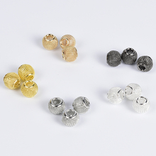 10Pcs/lot Metal Gold Silver Hollow Grids Ball Findings Accessories Spacer Beads For Craft DIY Bracelet Earrings Jewelry Making