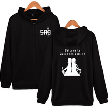 Hooded Jacket Long-Sleeve Japanese Streetwear Zipper Anime Coat Sword-Art SAO Online