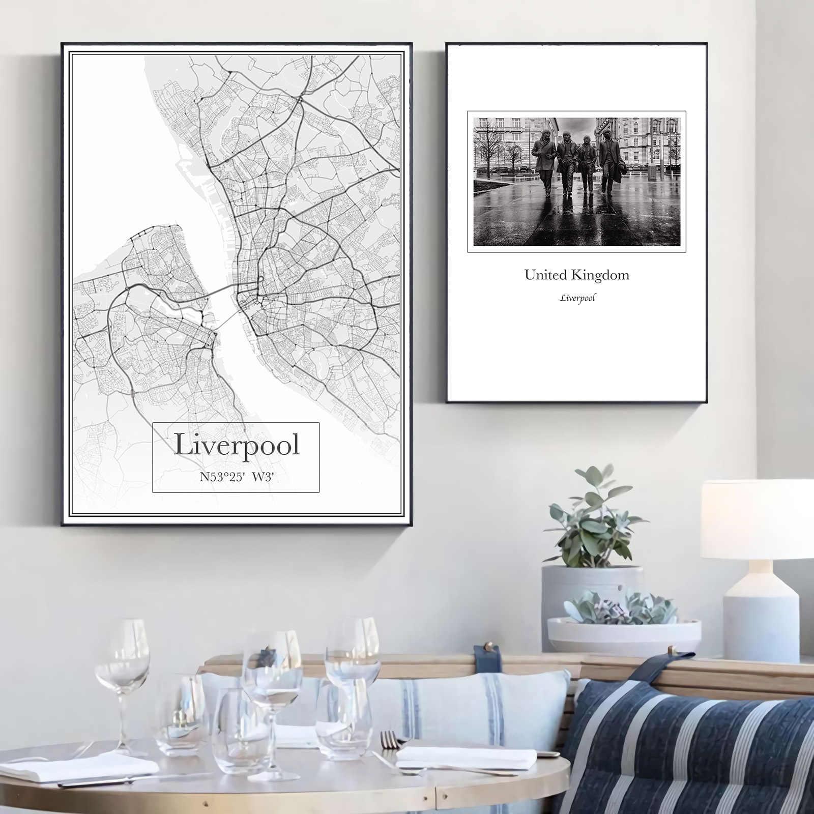 Inglaterra Reino Unido Industria Liverpool Mapa Da Cidade Classico Quadros De Lona Mapas Vintage Kraft Posters Revestido Arte Imprime Decoracao Casa Presente Pintura E Caligrafia Aliexpress