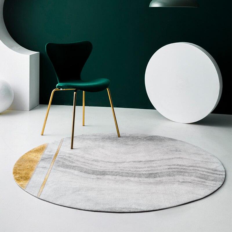 Villa licht luxus wohnzimmer runde teppich familie gold tee tisch teppich einfache stein druck dicken stuhl matte