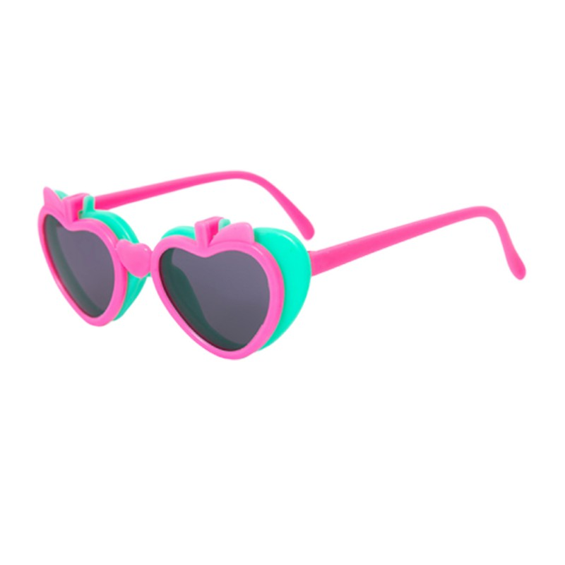 Children Apple Heart Shape Flip Sunglasses UV Protection Eye Protection Sunglasses Children\'s Glasses Cool Y