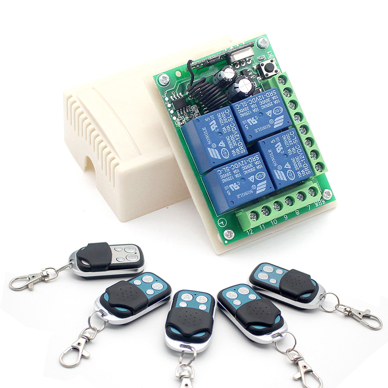 Universal DC <font><b>12V</b></font> 10A <font><b>4CH</b></font> Wireless Remote Switch <font><b>Relay</b></font> <font><b>Module</b></font> Smart Home Automation Multi-fonction Motor Controller 433MHz Re image