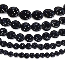 Natural Black Onyx Coin Loose Bead Healing Energy Stone DIY Jewelry Making Bracelet & Necklace�Custom Design 8x8mm to 30x30mm