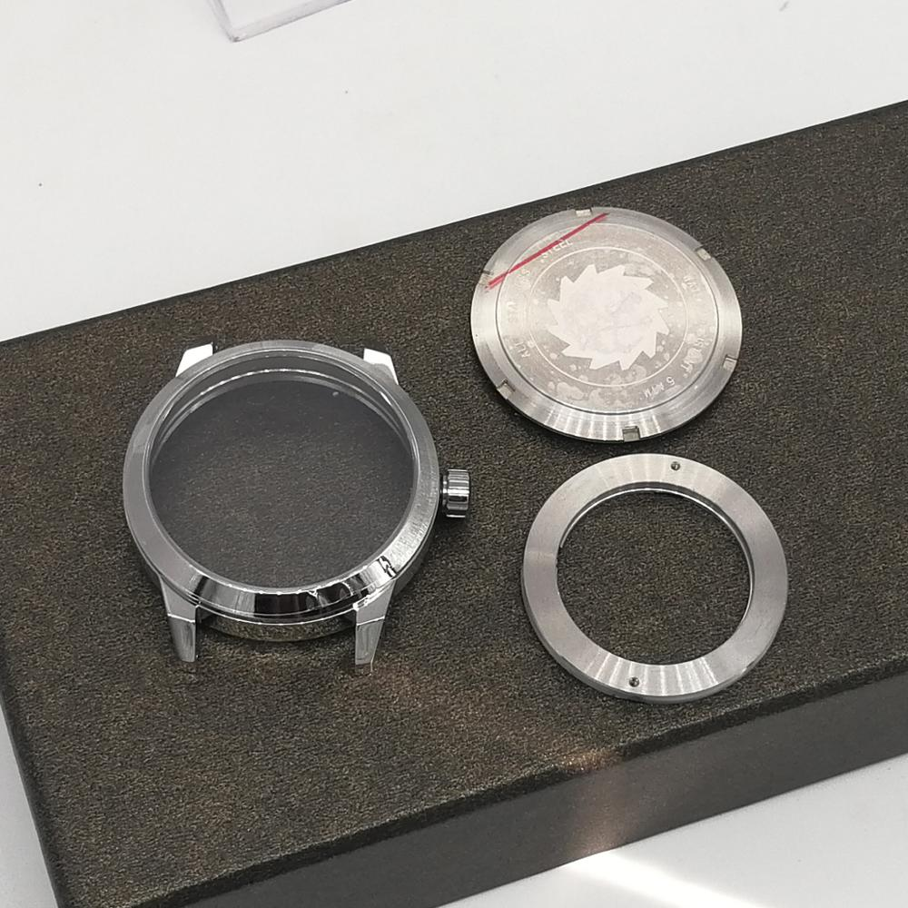 41mm Sapphire Glass Brushed Stainless Steel Watch Case Fit 2824/2836 8215 Movements