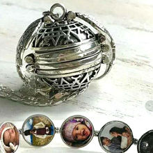 Creative Expanding 4 Photo Locket Necklace Silver Ball Angel Wing Pendant Memorial Gifts